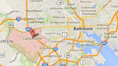 Map of Towson and Baltimore MD