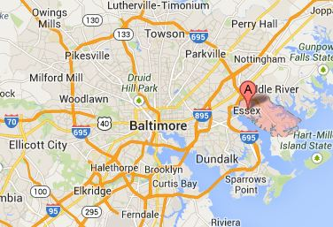 A map of Essex and Baltimore MD - 21221